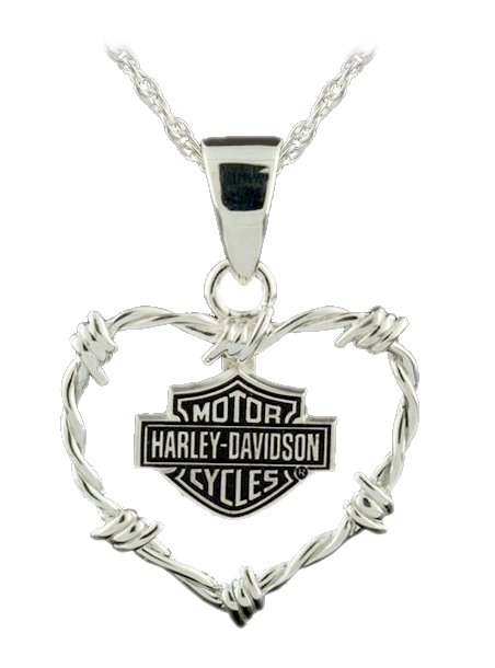 Harley-Davidson Womens Barb Wire Heart Sterling Silver Necklace