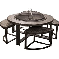 Alpine Flame 4-person Cast Aluminum Patio Conversation Set With Fire Pit Table
