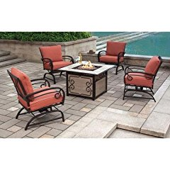 Sycamore Place 5-Piece Patio Conversation Set with Push-Button Ignition Fire Pit, Seats 4