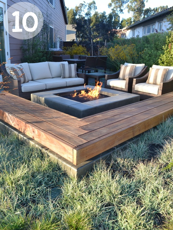 Patio Fire Pit Area using divider platforms