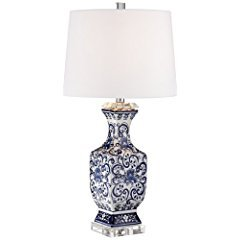Iris Blue And White Porcelain With Crystal Table Lamp