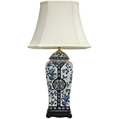 Oriental Furniture Floral Blue and White Table Lamp Vase Style