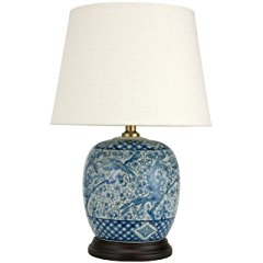 Oriental Furniture Classic Blue and White Table Lamp - Porcelain Jar Style