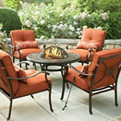 Martha Stewart Living Cold Spring 5-Piece Patio Fire Pit Set with Burnt Orange Cushions