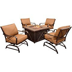 Hanover Summer Night 5-Piece Gas Fire Pit Set, Includes 4 Cushioned Rockers and 40-Inch Square Gas Fire Pit Table